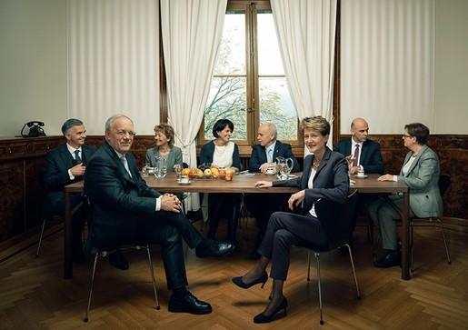 Бундесрат, официальное фото на 2015 год, Симонетта Соммаруга, Йоханн Шнайдер-Амманн, президент Бундесрата, www.business-swiss.ch