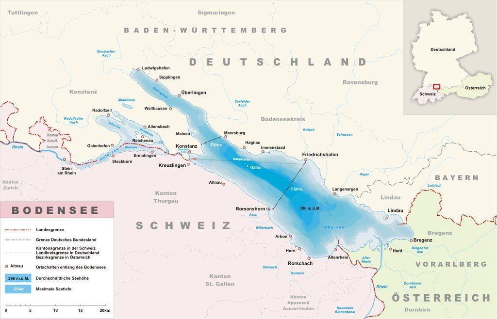Боденское озеро на карте Романсхорн Романсхорн Bodensee na karte