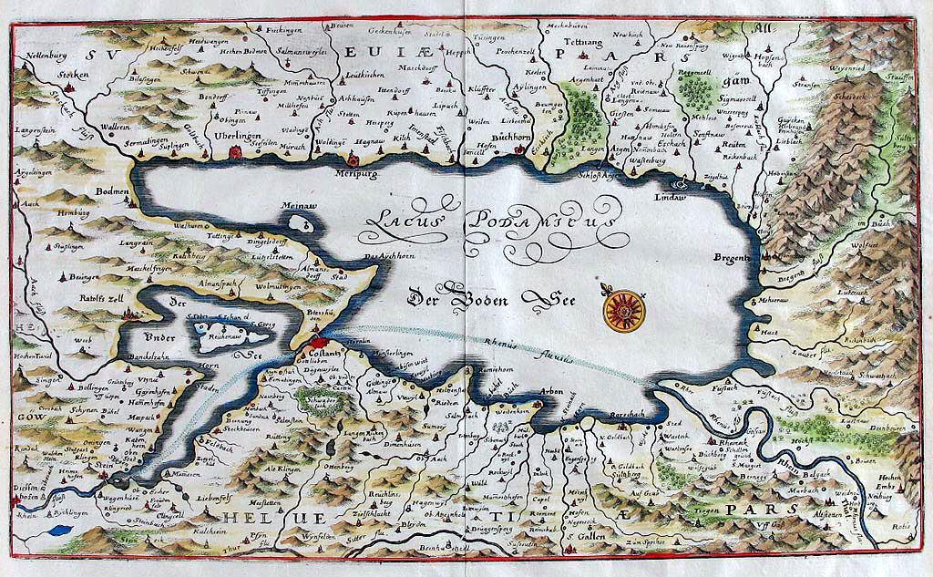 Карта Боденского озера Боденское озеро Боденское озеро (озеро Констанц) Bodensee Karte