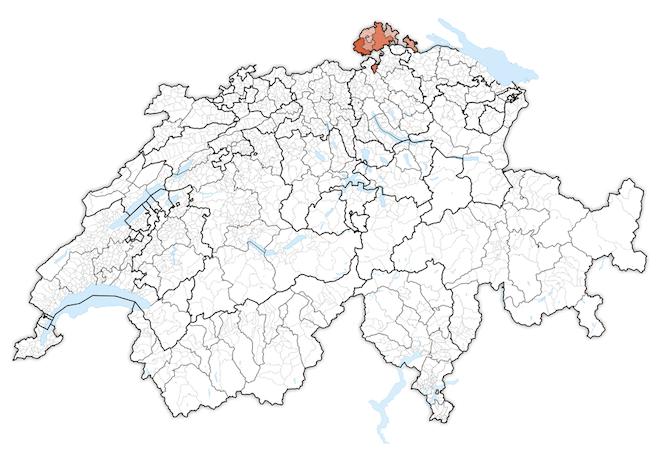 кантон Шаффхаузен на карте Швейцарии Шаффхаузен Шаффхаузен Kanton Schaffhausen