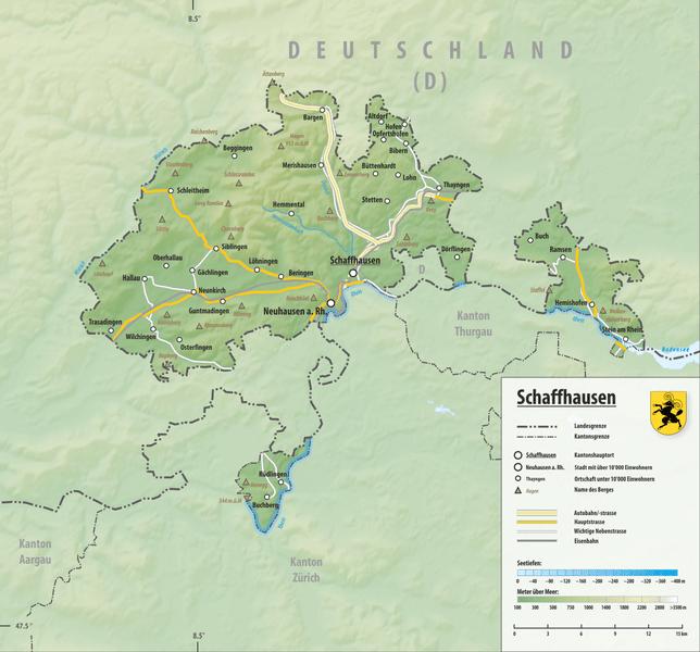 физическая карта кантона Шаффхаузен Шаффхаузен Reliefkarte Schaffhausen