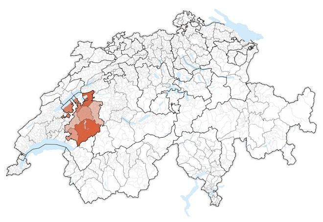 кантон Фрибург на карте Швейцарии