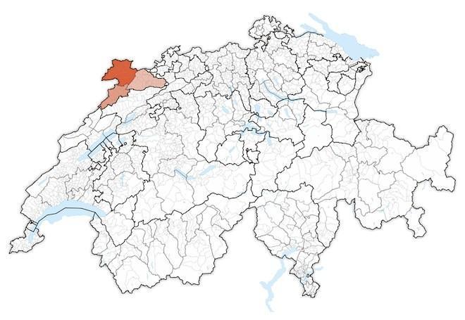 кантон Юра на карте Швейцарии