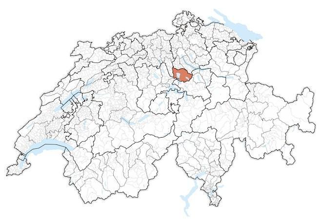 кантон Цуг на карте Швейцарии