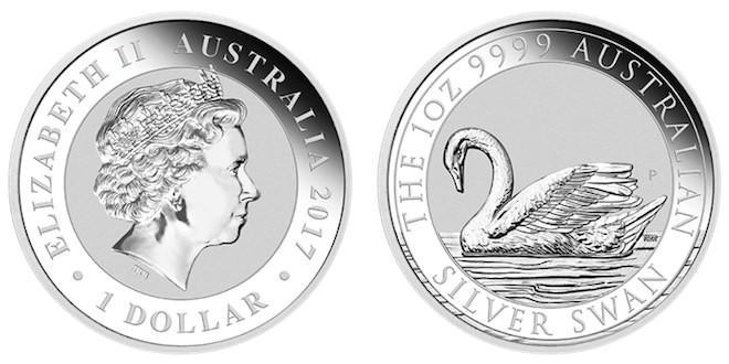 Австралия серебряная монета Australian Silver Swan