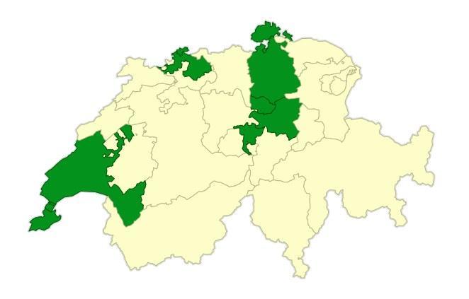 Кантоны Швейцарии, Кантон Цюрих, Кантон Цуг, Кантон Женева, Кантон Берн, Кантон Валлис, Кантон Швиц, Кантон Тичино