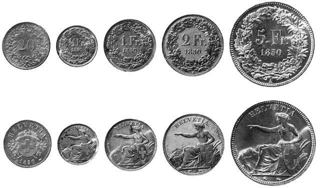 монеты швейцарского франка 1850
