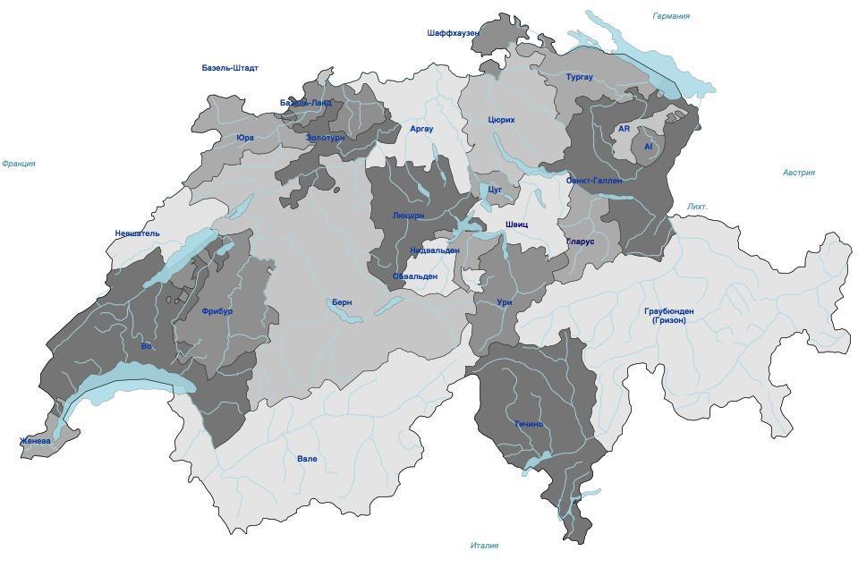 кантоны Швейцарии карта