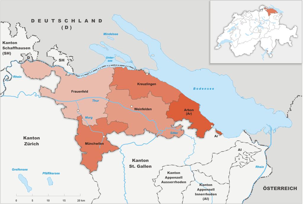 Округа кантона Тургау