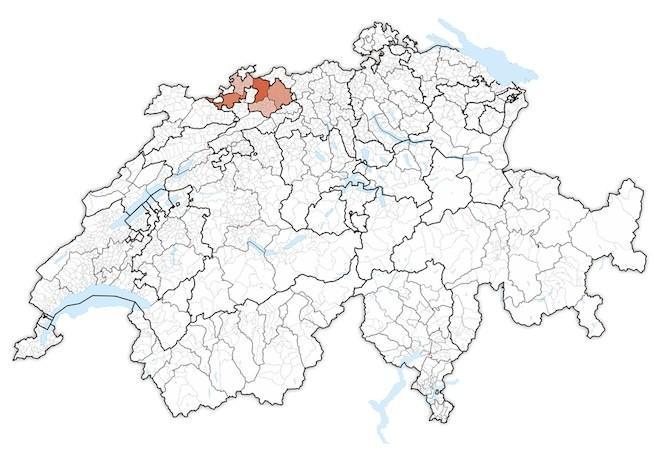 кантон Базель-Ланд на карте Швейцарии
