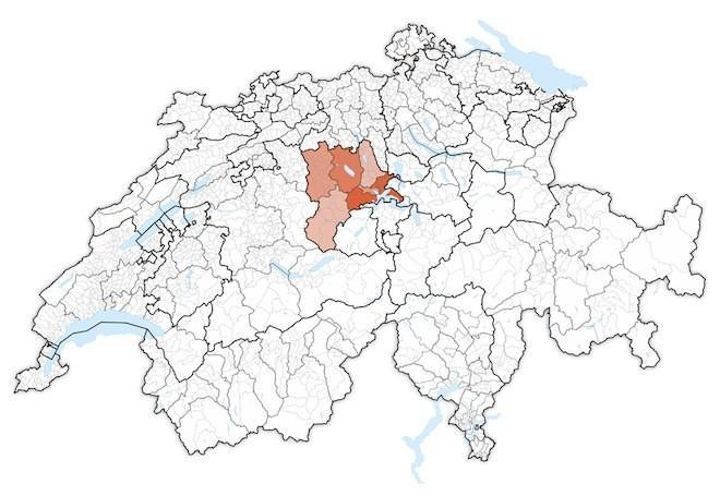 кантон Люцерн на карте Швейцарии