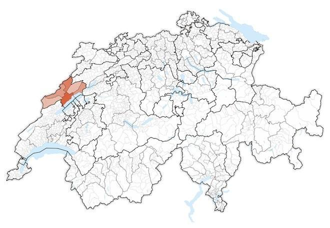 кантон Невшатель на карте Швейцарии