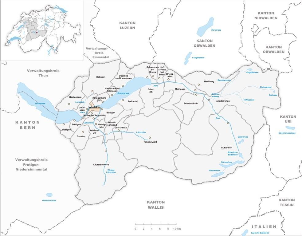 Интерлакен на карте Швейцарии